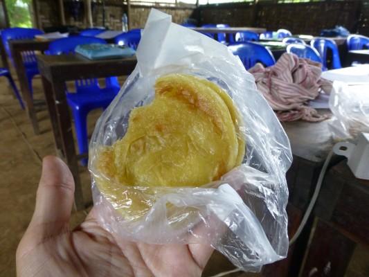 Fried pancake with sweet condensed milk in-between