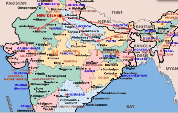 india map thru jodhpur 1